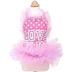 MaruPet Fashion Sweet Puppy Dog Bling Bling Printed Princess Skirt Pet Dog Lace Cake Camisole Tutu Dress (One Size Up Recommended) 39