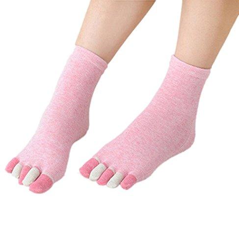 Vrouwen Vijf Teen Sokken, Sagton Vrouwen Chromatische Sport Katoenen Sokken Vloer Ahletic Behandeling Sokken Roze