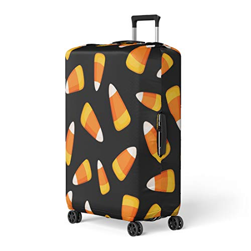 Pinbeam Luggage Cover Orange Pattern Candy Corn on Yellow Black Abstract Travel Suitcase Cover Protector Baggage Case Fits 18-22 -