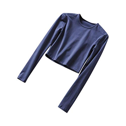 Womens Sexy Warm Long Sleeve O-Neck Solid Elastic Short Sports Casual Sweatshirt Tops Pullover Shirts Blouse (S-L)