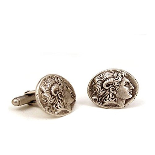 Antique Silver Finish Pewter Kingdom Of Macedon C. 336 323 Bc Tetradrachm Alexander The Great Greek Coin Cufflinks (Great Tetradrachm Silver Coin)