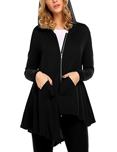 Zip up Loose Hoodies Tunic Sweatshirt Long Hoodie Jacket ()