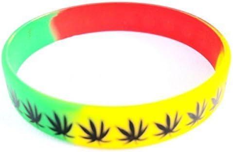Pulsera de Goma para Hombres Mujeres Estilo Rasta Diseño Hierba de Cannabis Hoja de Marihuana: Amazon.es: Hogar