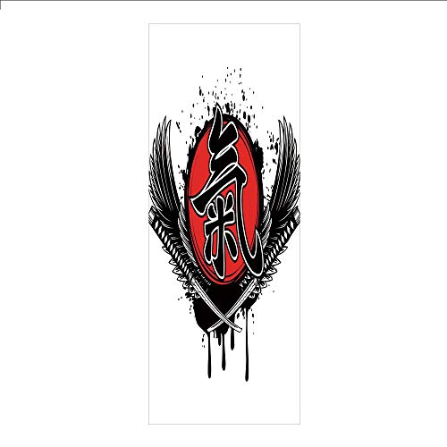3D Decorative Film Privacy Window Film No Glue,Japanese,Crossed Samurai Swords Wings with Old Feudal Japan Military Hieroglyph Emblem Print,Red Black,for Home&Office