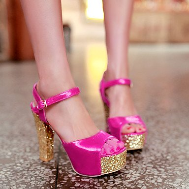 LvYuan Tacón Robusto-Zapatos del club-Sandalias-Oficina y Trabajo Vestido Fiesta y Noche-PU-Rojo Plata Oro Silver