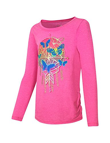 Hanes Girls' Long-Sleeve Shirred Shirttail Graphic Tee, Butterfly Reef Pink Htr, XS Butterfly Graphic Tee