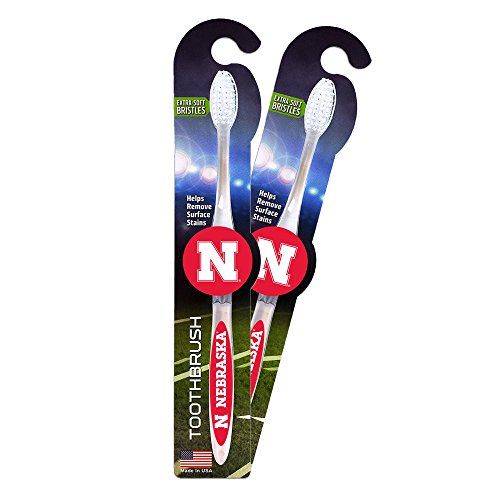 Worthy Promotional NCAA Nebraska Cornhuskers Toothbrush 2-pack. Sturdy Design, Soft Bristles