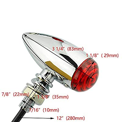 Mini Red LED 3 Wires Turn Signal Blinker Light Chrome Bullet Motorcycle Indicators For Harley (Red lens): Automotive