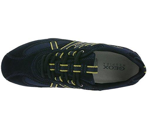 Geox U2207s Uomini Di Sport Serpente Scarpa Da Tennis, Schnürhalbschuh, Scarpe Per Il Tempo Libero, Traspirante, Soletta Sciolto, Exchangeable Blu / Giallo