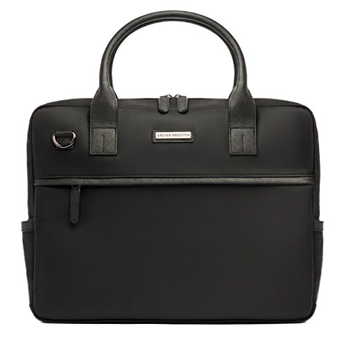 Archer Brighton Walker Business Laptop Slim Briefcase, Men's Classic 15.6 & 17 Inch Business Computer Messenger with Crossbody Shoulder Strap, Leather Canvas Briefcase Organizer Bag ()
