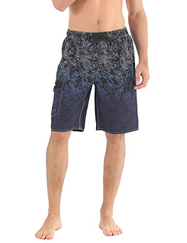 d4c88864f4 Nonwe Men's Swim Trunk Printed Summer Holiday Drawstring Board Shorts Black  28