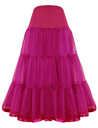 (Shimaly Women's Floor Length Wedding Petticoat Long Underskirt for Formal Dress (XL-3XL, Hot Pink))