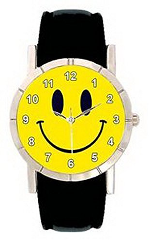 Watch Men Smiley Face (JWL0973 Smiley Happy Face Mens Ladies Genuine Leather Water Resistant Wrist Watch)