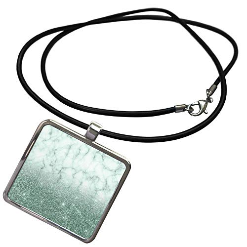 3dRose Anne Marie Baugh - Glitter and Bling - Chic Faux Digitally Printed Aqua Glitter and Marble Flat Design - Necklace With Rectangle Pendant - Pendant Marble Aqua