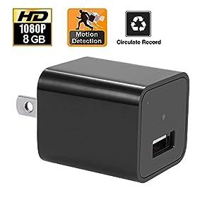 8GB HD 1080P USB Mini Spy Charger Camera/Nanny Camera Charger Cameras US Plug Hidden Video Recorder Hidden Security Camera