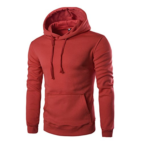 Mens Shirt,Haoricu Men Long Sleeve Solid Hoodie Sweatshirt Retro Tops Jacket Coat (XL, Red) (Womens Hooded Jackets Clearance)