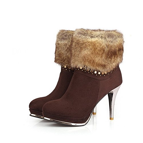 Top Spikes Stilettos Solid Low Brown Odomolor Women's Zipper Boots nYqzwaYO
