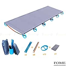 IDEEP Camping Cot, IDEEP Ultralight Portable Folding Camping Cot Aluminium Alloy Off Ground Foldable Bed for Adult 220lbs Bearing 73x23x4inch