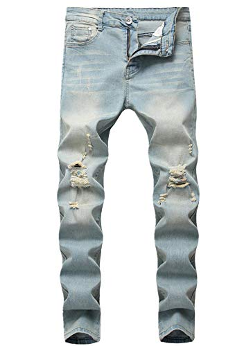 Men's Light Blue Skinny Fit Ripped Destroyed Fashion Stretch Jeans Pants (Fashion Ripped Jeans)