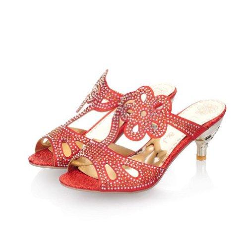 Carol Shoes Fashion Rhinestone Womens Mid Heel Peep Toe Sandals Slippers Red El88qG