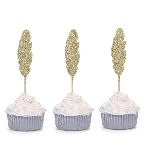 Price comparison product image Set of 24 Golden Feather Cupcake Toppers Boho Party Picks - by Giuffi