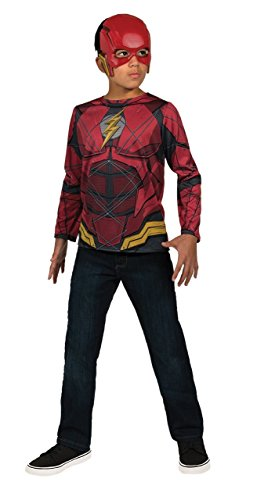 The Flash Classic Child Costumes (Rubie's Costume Boys Justice League Flash Top Costume, Large, Multicolor)