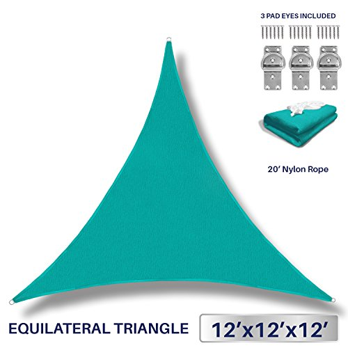 12' x 12' x 12' Sun Shade Sail UV Block Fabric Canopy in Turquoise Triangle for Patio Garden Patio 3 Pad Eyes Included Customized Sizes Available (3 Year (Turquoise Triangle)