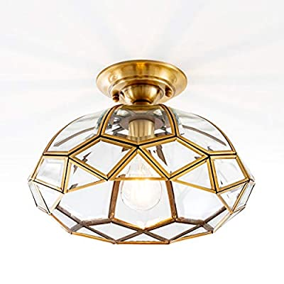YISURO Vintage Brass Glass Ceiling Light Fixture, Diamond Shape Vintage Ceiling Lighting for Entryway Living Room Bedroom Kitchen Sink, 12in
