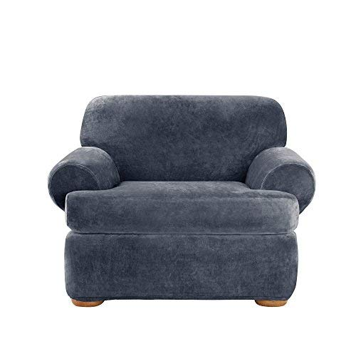 SURE FIT Stretch Plush Separate Seat Chair Slipcover - Storm Blue (SF45112)