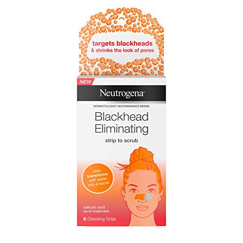 Neutrogena Blackhead Eliminating Pore Strip to Facial Scrub with Salicylic Acid Acne Treatment Oil-Free & Non-Comedogenic, 6 ct.