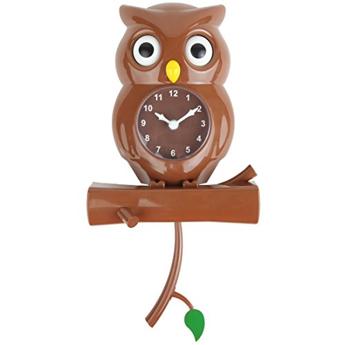 Home Owl Clock with Revolving Eyes (Brown)