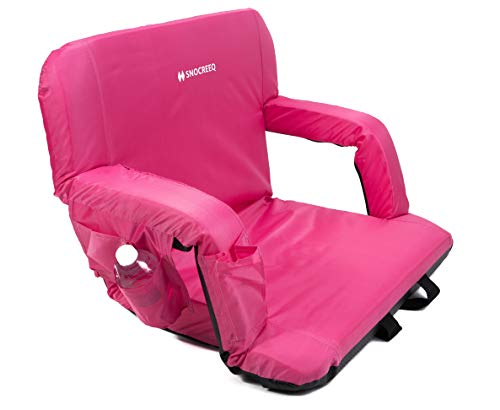 Snocreeq Portable Reclining Stadium seat Folding Sport Chair for Bleachers Benches Cushion Padded Back&armrests, Slip-&Water-Resistant, Easy-Carry Straps.(Pink)