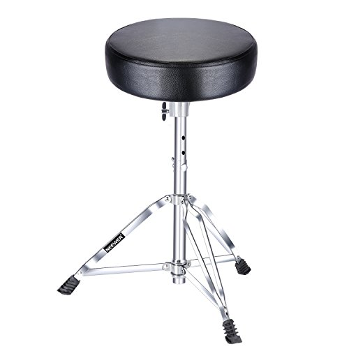 Neewer Stable Drum Throne - 19.3-23.2inches/49-59 centimeters Adjustable Height with Tripod Base, Double Brace Leg, Slip-Proof Rubber Feet, 11.8 -inch Round top, Black (NW-001) (Double Braced Tripod Drum Throne)