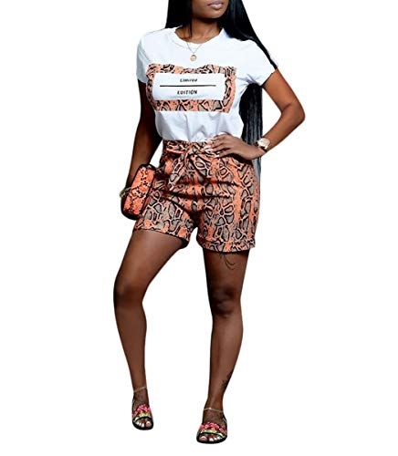 Womens Sexy Two Piece Outfit Crop Top Tie Up Bodycon Snakeskin Short Pant Party Rompers Orange#5 XXL ()