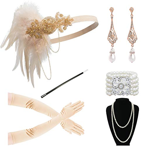 Zivyes 1920s Accessories Flapper Costume for Women Headpiece Cigarette Necklace Gloves (9A)