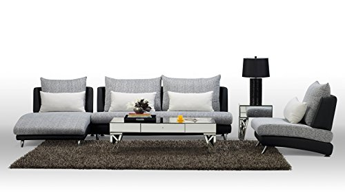 Black Palms Fabric Sectional Sofa - Chaise