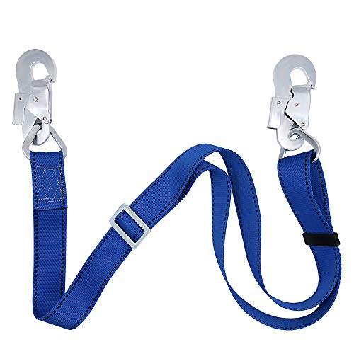 Zixar Fall Protection Lanyard,Safety Adjustable Absorbing Lanyard from 4-Feet to 6-Feet Outdoor Tree Climbing Belt Restraint Lanyards With Large Snap Hooks - Fall Protection Lanyards