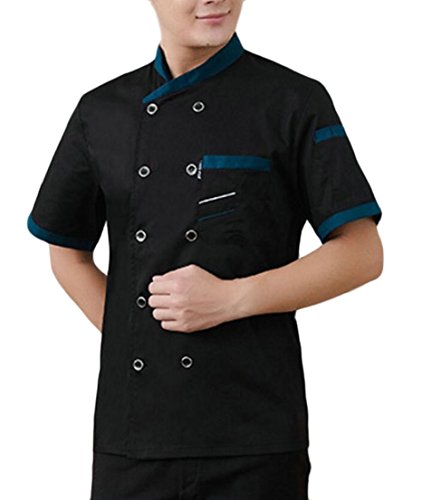 GenericMen Short Sleeve Chef Jacket Kitchen Cook Coat Uniforms Black M