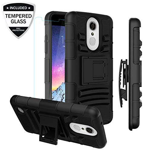 LG Aristo/LG Rebel 2 LTE/Rebel 3 LTE/Phoenix 3/Fortune/Risio 2/K8 2017  Phone Case w/Tempered Glass Screen Protector, Heavy Duty Shockproof  Protective