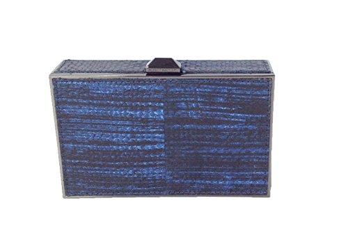 Rebecca Minkoff Odette Python Snakeskin Minaudiere Clutch Blue