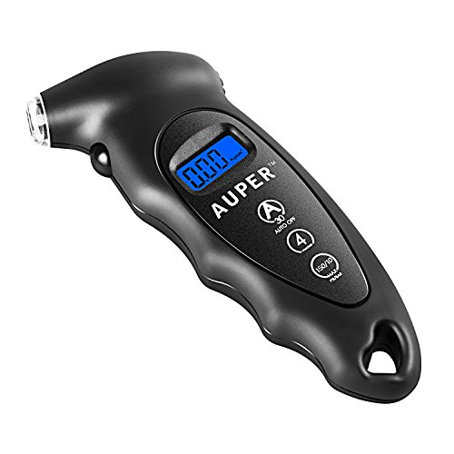 Tire Pressure Gauge, Auper Accurate Digital Tire Pressure Gauges Backlit LCD Tire Gauge 150 PSI/10 BAR 4 Settings Pressure Gauge Ergonomic Air Pressure Gauge for Car,Truck,Motorcycle, Bike and More
