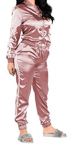 [Jiujiuyi Women's Long Sleeve Zip-up Sweatshirt and Sweatpants Set 2 Pieces] (Pink Sweat Suits)