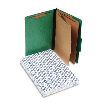 Pressguard Classification Folders, Legal, 2 Dividers/6 Section, Green, 10/Box ()