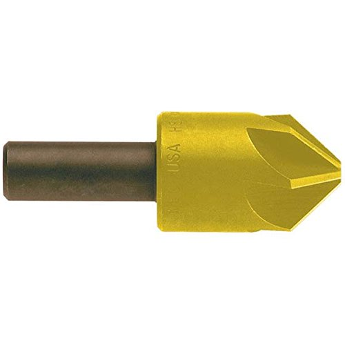 KEO 55617 Cobalt Steel Single-End Countersink, TiN Coated, 6 Flutes, 120 Degree Point Angle, Round Shank, 1'' Shank Diameter, 3'' Body Diameter by KEO Cutters
