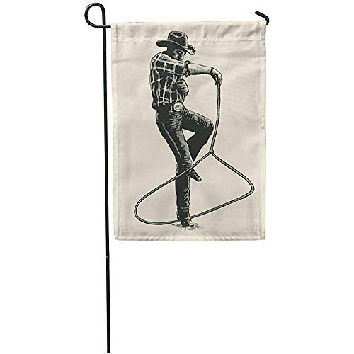 Garden Flag Retro Cowboy Shows Mastery of The Lasso on Rodeo Character Home Yard House Decor Barnner Outdoor Stand 12x18 Inches - Mastery Streamer