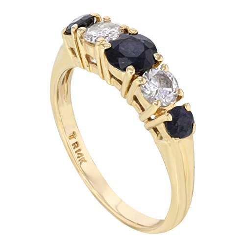 14K Or jaune environ. 0.56ct diamants & environ. 1.27ct saphirs Bague