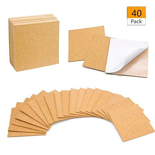 Self-Adhesive Cork Coasters Squares 40 Pcs, 4 x 4 Inch Mini Wall Cork Tiles Cork Backing Sheets for Coasters and DIY Crafts