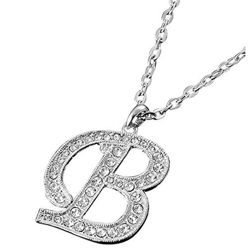 - MGStyle Pendant Necklace For Men Or Women - Capital Initials Letter B - Silver Tone - Rhinestone & Alloy with Deluxe Gift Box