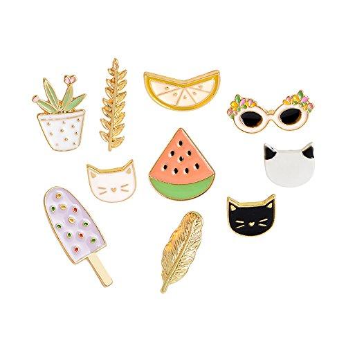 (Fashion Cartoon Enamel Brooch Pins Set for Unisex Child Women's Clothing Decorate (Cats Watermelon Leaf Set))