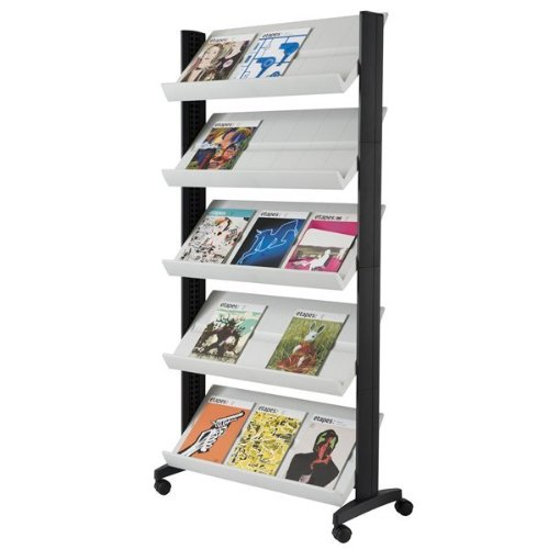 PaperFlow Single Sided Mobile Literature Display, 5 Shelves, 33.67x15.17x66 Inches, Gray (255N.02)